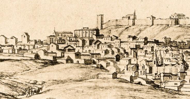 Dibujo de Montemor-o-Novo por Baldi 1669