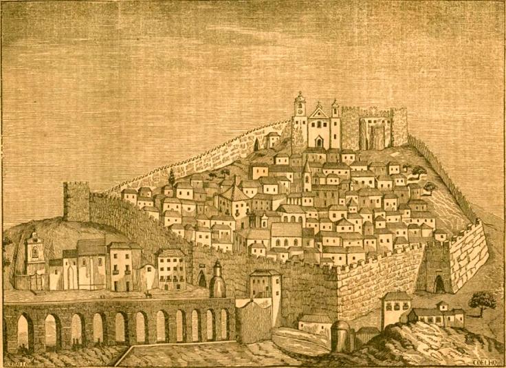 Grabado de Óbidos publicada en la revista Panorama en 1842