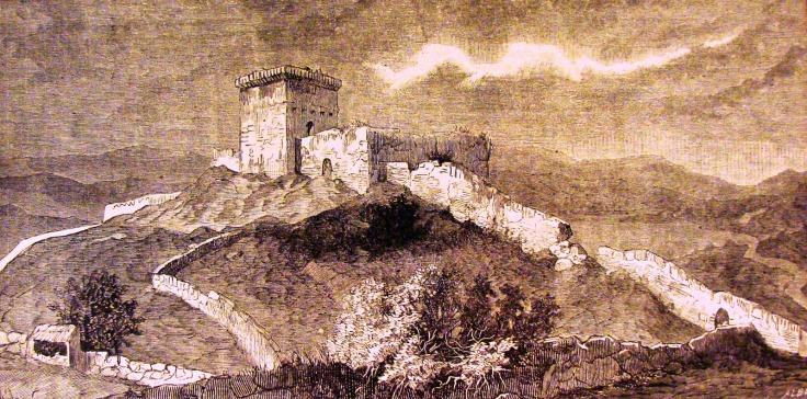 O Castelo de Monforte de Rio Livre, rara gravura de autor desconhecido, presumivelmente dos finais do séc. XIX