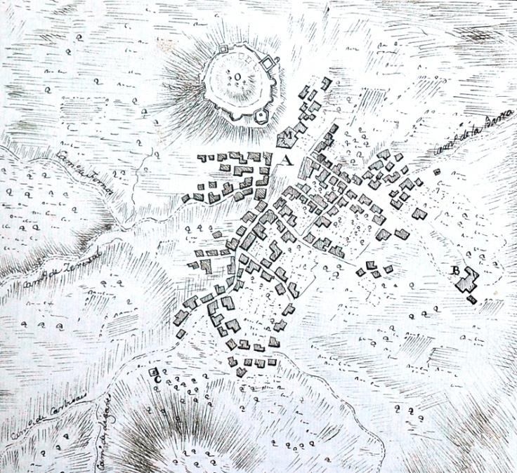 Freixo de Espada à Cinta mapa elaborado pelas tropas espanholas em julho de 1762