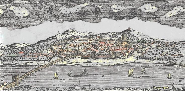 A vila antiga reconstituição imaginária - desenho de Justininho, colorido por J. G. Costa