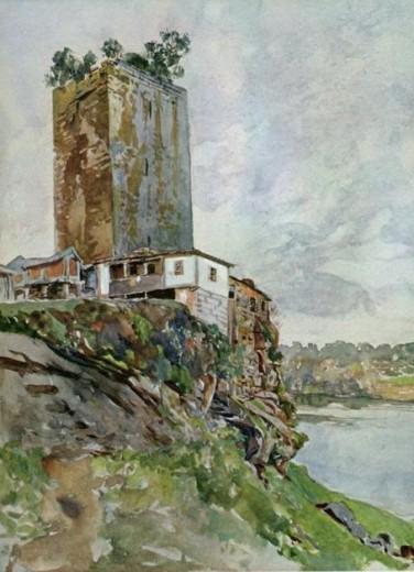 Torre de Lapela Aquarela Roque Gameiro