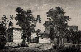 Igreja de S. Miguel e Castelo de Guimarães. Gravura de Pedroso a partir de desenho de B. Lima 1864