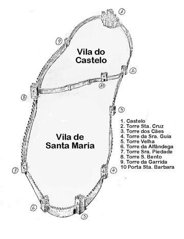 Mapa das Muralhas de Guimarães na vila de S. Maria da Oliveira e na Vila do Castelo.
