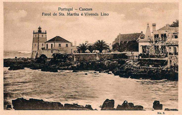 farol de santa marta. postal. 1936. al centro muralla del fuerte-2