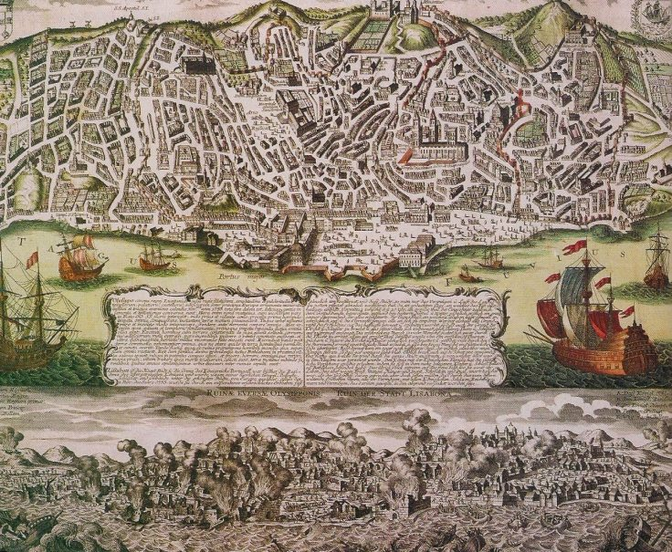 lisboa antes e durante o terremoto de 1755 in gravura de mateus sautter séc. xviii