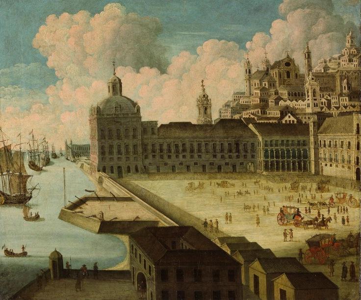 vista do paço real da ribeira em 1740