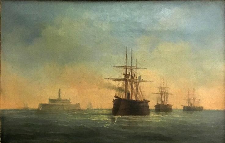 Navios de guerra de propulsão mista e casco reforçado saindo do Tejo de madrugada junto à Torre do Bugio. 1860