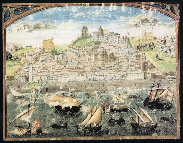 La representación más antigua de Lisboa (1500–1510), de la Crónica de Dom Afonso Henriques, por Duarte Galvão.